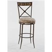 Hillsdale Compton Swivel Bar Stool in Brown with Coconut Shell Panel Top / Weathered Beige PU (Faux Leather), 16-3/4''W x 20-1/2''D x 46''H