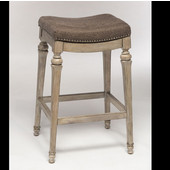 Hillsdale Vetrina Backless Non-Swivel Bar Stool in Weathered Gray / Gray Fabric, 21-1/2''W x 15-1/2''D x 30-1/2''H