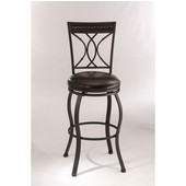 Hillsdale Kirkham Swivel Bar Stool in Black Silver / Dark Brown PU (Faux Leather), 18''W x 20-3/4''D x 45-7/8''H