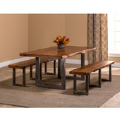 Emerson 3-Piece Rectangle Dining Set with (2) Benches in Natural Sheesham / Gray Powder Coat Finish and Gray Fabric, 80'' W x 39'' D x 30'' H