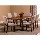 Emerson 7-Piece Rectangle Dining Set in Natural Sheesham / Gray Powder Coat / Black Finish and Oyster (Beige) Fabric, 80'' W x 39'' D x 38-1/2'' H