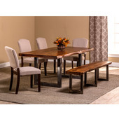 Emerson 6-Piece Rectangle Dining Set with (1) Bench and (4) Chairs in Natural Sheesham / Gray Powder Coat Finish and Oyster (Beige) Fabric, 80'' W x 39'' D x 30'' H