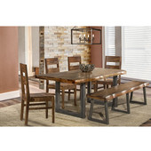 Emerson 6-Piece Rectangle Dining Set With Bench and 4 Wood Chairs, Natural Sheesham Finish