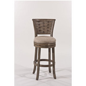 Hillsdale Thredson Swivel Bar Stool in Gold Metallic Silver / Putty Fabric, 17-1/2''W x 19''D x 43''H
