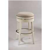 Hillsdale Tillman Backless Swivel Bar Stool in White / Beige Fabric, 18''W x 18''D x 30''H