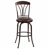 Marano Swivel Bar Height Stool in Speckled Bronze Pewter and Charcoal Faux Leather, 17-1/2''W x 23''D x 45''H