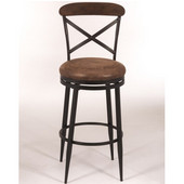 Henderson Swivel Counter Stool, Black / Brown Finished Wood Top
