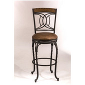 Hillsdale Donovan Swivel Bar Stool in Antique Brown / Medium Brown Finished Wood / Brown Faux Leather, 24''W x 24''D x 46-1/2''H
