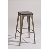 Hillsdale Morris Backless Bar Stool in Dark Gray / Black Wood, 23-1/2''W x 23-1/2''D x 30''H