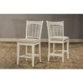 Bayberry Non-Swivel Counter Stool, Set of 2 in White Finish and Off White Woven Fabric, 20-1/2'' W x 18-1/2'' D x 42-1/2'' H