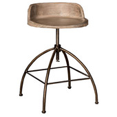 Bridgewater Collection Adjustable Stool with Tan Wood Seat and Zinc Metal Frame, 18'' W x 18'' D x 29'' - 34-1/2'' H