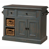 Tuscan Retreat ® Collection Medium Granite Top Kitchen Island with Two Baskets, Nordic Blue, 41'' W x 23'' D x 34'' H