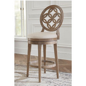 Savona Swivel Counter Stool in Vintage Gray Finish and Putty Fabric, 23'' W x 18-1/2'' D x 44'' H
