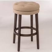 Krauss Backless Swivel Counter Stool in Charcoal Gray Finish and Linen Stone Fabric, 18-1/2'' W x 18-1/2'' D x 25-1/2'' H