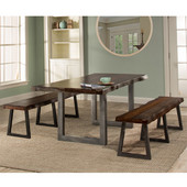 Emerson 3-Piece Rectangle Dining Table Set with Two (2) Benches, Gray