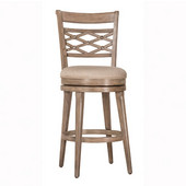 Chesney Swivel Counter Stool in Weathered Gray Finish and Putty Fabric, 23'' W x 19-1/2'' D x 43-1/4'' H