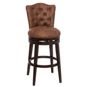 Edenwood Swivel Counter Stool in Chocolate Finish and Chestnut PU (Faux Leather) Fabric, 19'' W x 23'' D x 37-1/4'' H