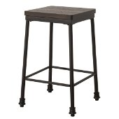 Castille Non-Swivel Backless Counter Height Stool  in Textured Black Metal / Distressed Walnut Wood Finish, 15'' W x 15'' D x 26'' H