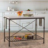 Castille Metal Kitchen Island, Textured Black with White Marble Top, 54'' W x 28'' D x 36''H