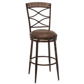 Emmons Collection Swivel Counter Stool, Washed Gray with Brown Faux Leather Seats, 21''W x 21''D x 45''H