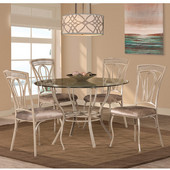 Napier 5-Piece Round Dining Table Set with Four (4) Chairs, Aged Ivory & Taupe PU Faux Leather