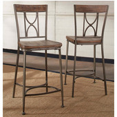 Paddock Non-Swivel Counter Height Stool, Set of 2, Brushed Steel Metal & Distressed Brown-Gray Finished Wood, 20''W x 18''D x 43''H