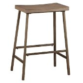 Kennon Backless Non-Swivel Counter Stool in Brushed Steel Metal / Distressed Brown Gray Finished Top , 19-3/4'' W x 14-1/4'' D x 26'' H