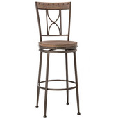 Paddock Swivel Counter Stool, Brushed Steel Metal & Distressed Brown-Gray Finished Wood