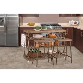 Paddock 3-Piece Kitchen Cart Set with 2 Kennon Stools in Brushed Steel Metal / Distressed Brown Gray Finished Top , 48'' W x 18'' D x 34'' H