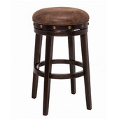 Benard Backless Counter Stool, Deep Smoke Brown Frame with Brown Fabric Seat