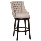 Halbrooke Swivel Bar Stool, Smoke Frame with Cream Fabric Seat