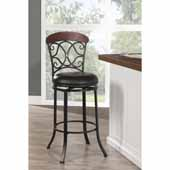 Hillsdale - Trevelian Swivel Bar Stool, 24'' W x 24'' D x 45 1/2'' H, Dark Coffee