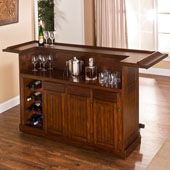 Classic Collection, Classic Large Bar in Brown Cherry with Black Footrest, 12 Bottle Capacity, 78'' W x 26-1/2'' D x 43'' H