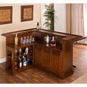 Classic Collection, Classic Large Bar in Brown Cherry with Black Footrest and Side Bar, 12 Bottle Capacity, Bar: 78'' W x 26-1/2'' D x 43'' H, Side Bar: 32'' W x 16-1/2'' D x 43'' H