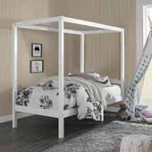 Sutton Kids & Teen Complete Wood Twin Canopy Bed in White, 42''W x 80-1/2''D x 69-1/2''H