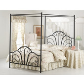 Dover Complete Queen Bed Set, Includes HB, FB, Canopy, 6-leg Frame, Black Finish