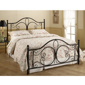 Milwaukee Collection Queen Bed Set with Rails in Antique Brown (Set Includes: Headboard, Footboard and Rails)