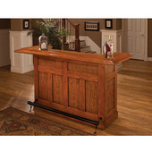Classic Collection, Classic Large Bar in Oak with Black Footrest, 12 Bottle Capacity, 78'' W x 26-1/2'' D x 43'' H