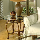 Scottsdale End Table, Brown rust finish with glass, 26''W x 26''D x 21-1/2''H