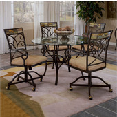 Hillsdale - Pompei Caster Dining Chairs, Set of 2, Black Gold/Slate Mosaic