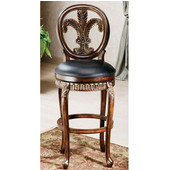 Fleur De Lis Counter Bar Stool in Island Vanity Finish with Leather Seat