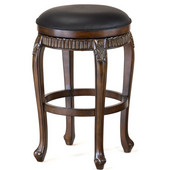 Hillsdale - Backless Fleur De Lis Swivel Counter Stool, 19'' W x 19'' D x 24'' H, Cherry