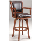 Hillsdale Park View Open Arm Swivel Bar Stool, 23-1/4'' W x 22'' D x 44-1/2'' H, Medium Brown Oak