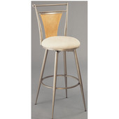 Hillsdale - London Swivel Bar Stool, 17'' W x 17 1/2'' D x 44 1/2'' H, Pewter with Maple Finished Wood