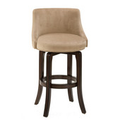 - Napa Valley Swivel Counter Stool - Textured Khaki Fabric, Dark Brown Cherry