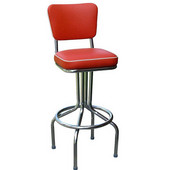 Richardson 24'' 50's Retro Bar Stool with 360° Swivel Seat in Grade 4 Vinyl Finishes