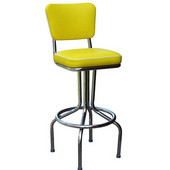 Richardson 30'' 50's Retro Bar Stool with 360° Swivel Seat in Grade 10 Vinyl Finishes