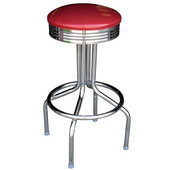 Richardson 24'' 1950's Retro Steel Bar Counter Stool with Grade 3 Vinyl Upholstered Swivel Seat
