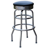 Richardson Retro Double Ring Metal Bar Counter Stool with Upholstered Grade 3 Vinyl Swivel Seat 30''