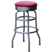 Richardson Retro Double Ring Metal Bar Counter Stool with Upholstered Grade 4 Vinyl Swivel Seat 30''